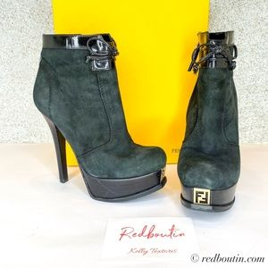 FENDI Fendista Runway Suede Platform Ankle Boots